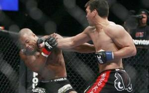 Lyoto Machida: textbook karate. Disclaimer: you are not a karate master, don't drop your rear hand like this.