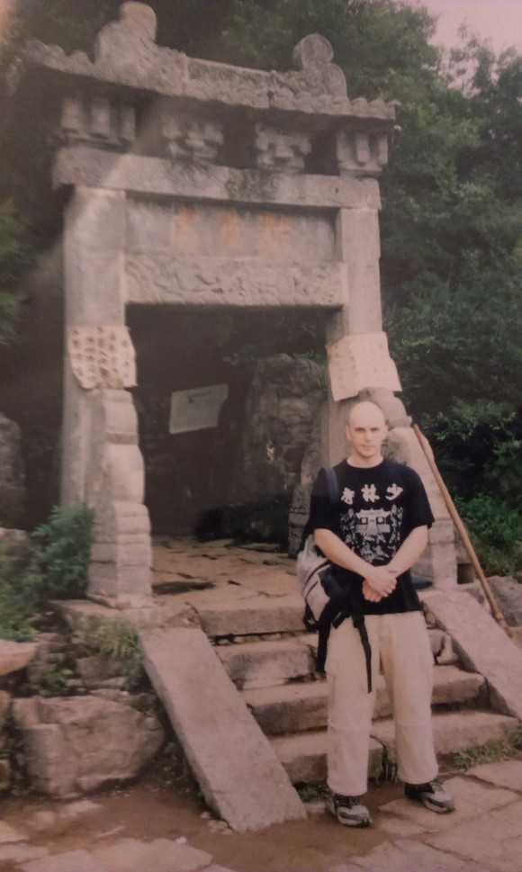 The author outside Bodhidharma's cave.